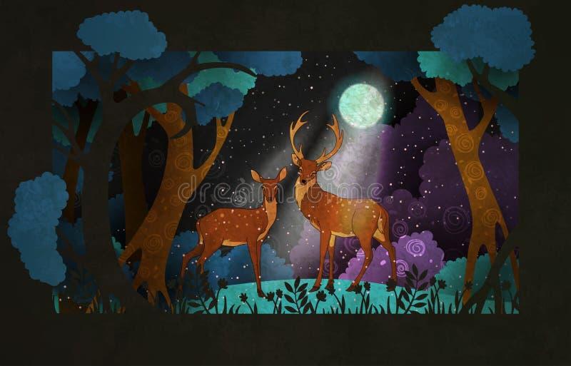 Accoppi dei cervi davanti all'illustrazione di fiaba della foresta di notte o alla progettazione del manifesto illustrazione vettoriale