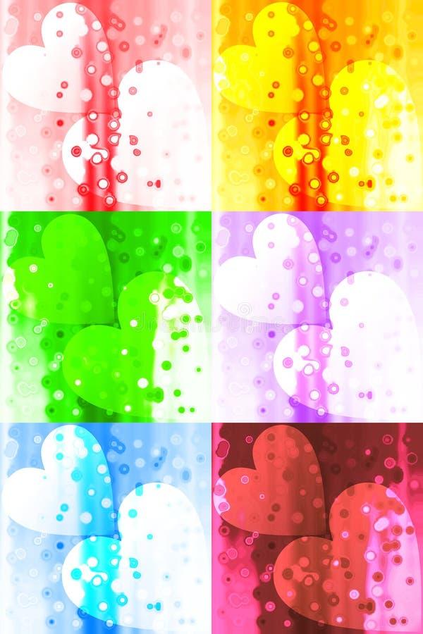 Accoppi dei cuori nel fondo generato da computer variopinto con effetto della luce, l'immagine e la progettazione della carta da  illustrazione vettoriale