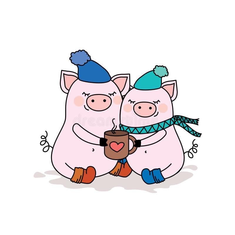Accoppi dei maiali nell'amore, due animali svegli in cappelli con la tazza calda, io illustrazione vettoriale