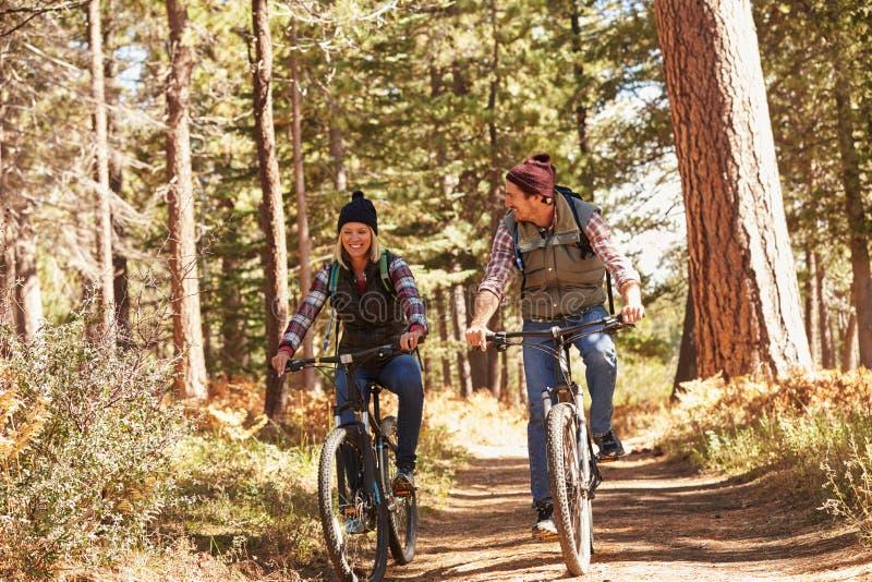 Accoppi il ciclismo di montagna attraverso la foresta, più vicino su fotografia stock libera da diritti