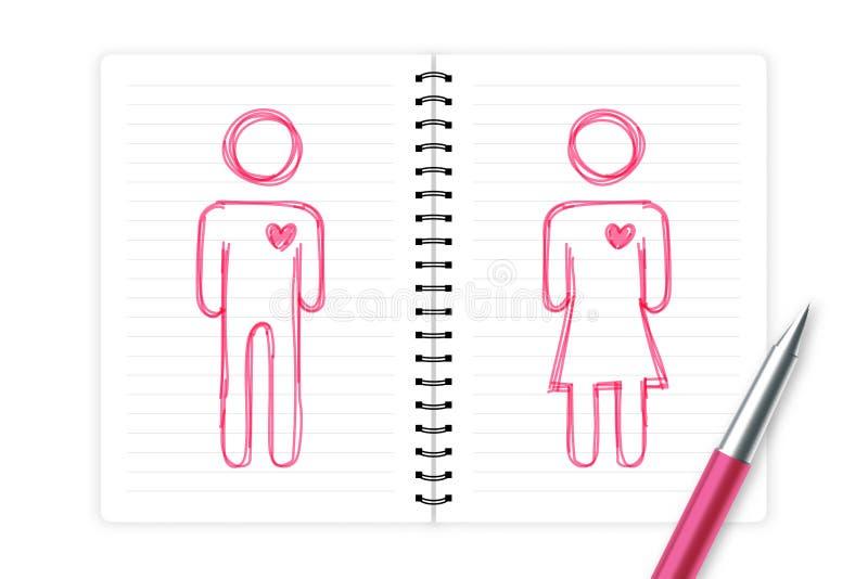 Accoppi l'uomo e la donna di amore con il disegno della mano di simbolo del pittogramma del cuore da colore di rosa di schizzo de illustrazione vettoriale