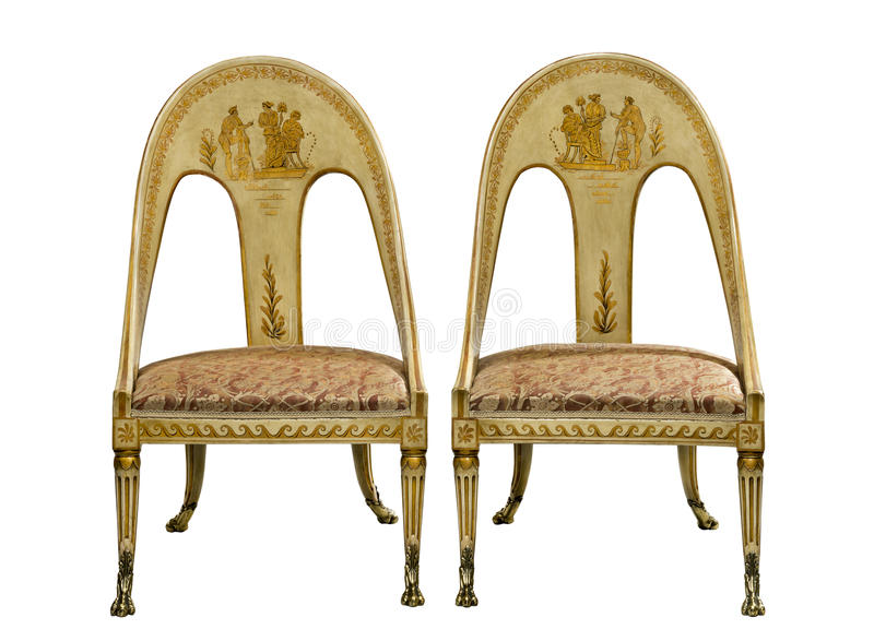 Accoppi le sedie egiziane di stile dipinte annata antica isolate su w illustrazione di stock