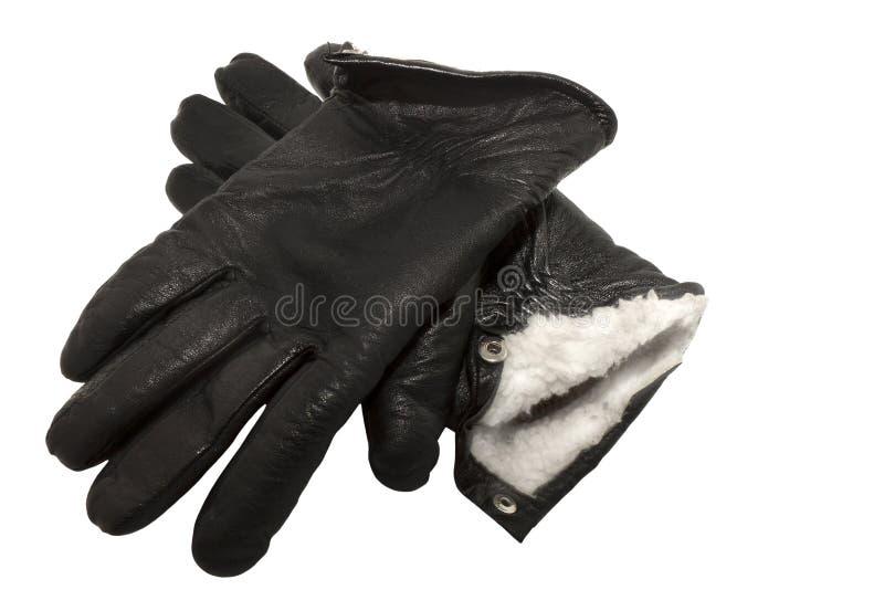 Accoppiamenti dei guanti di cuoio neri di inverno fotografia stock
