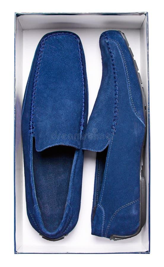 Accoppiamenti dei mocassini blu maschii in casella fotografia stock libera da diritti