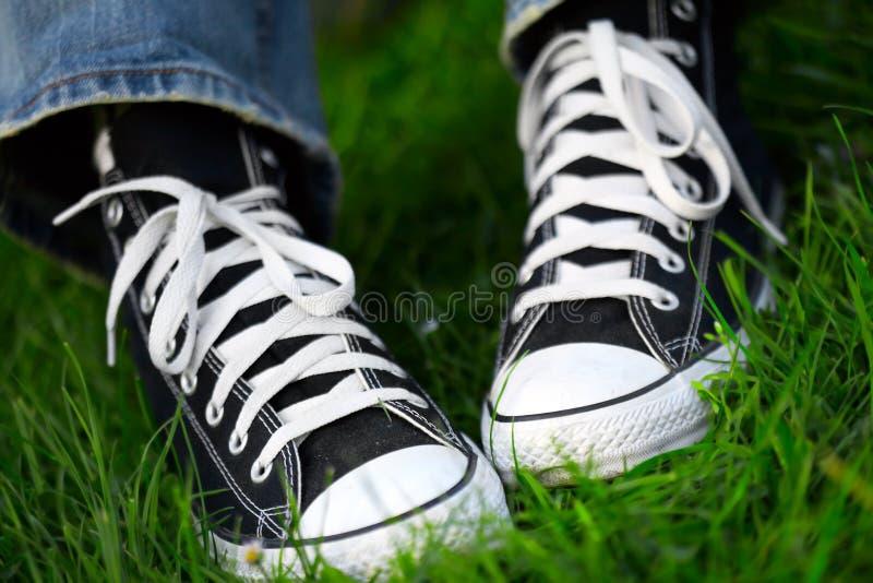 Accoppiamenti delle scarpe da tennis fotografia stock