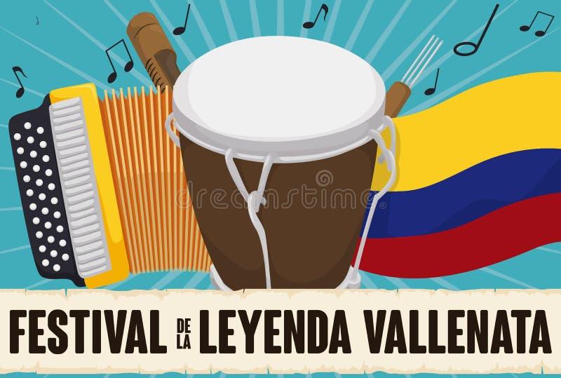 Accordéon, Caja, Guacharaca, drapeau colombien et rouleau pour le festival de Vallenato, illustration de vecteur illustration stock
