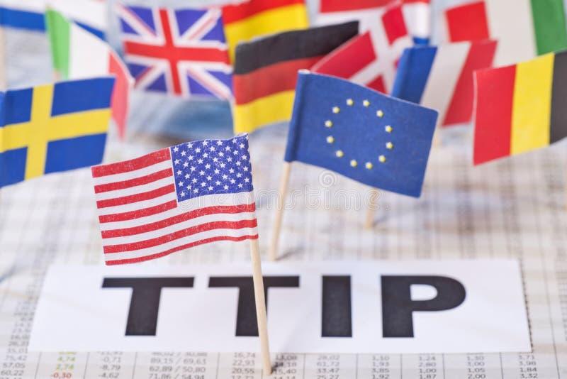 Accord de libre-échange transatlantique de photo de symbole, TTIP photos libres de droits