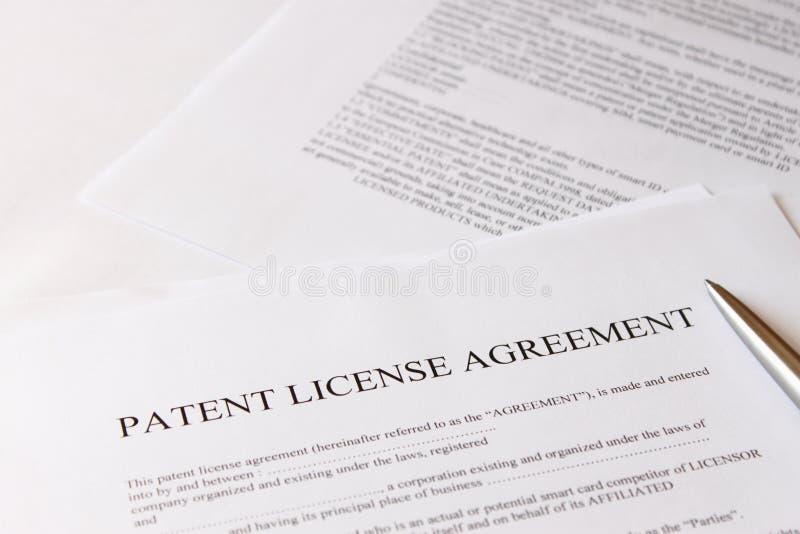 Accord de licence de brevet photo stock