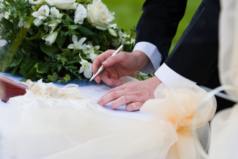 Accord de mariage photographie stock