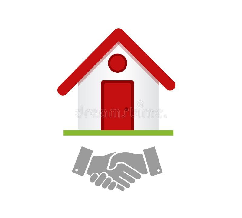 Accord de poignée de main d'entreprise immobilière illustration stock