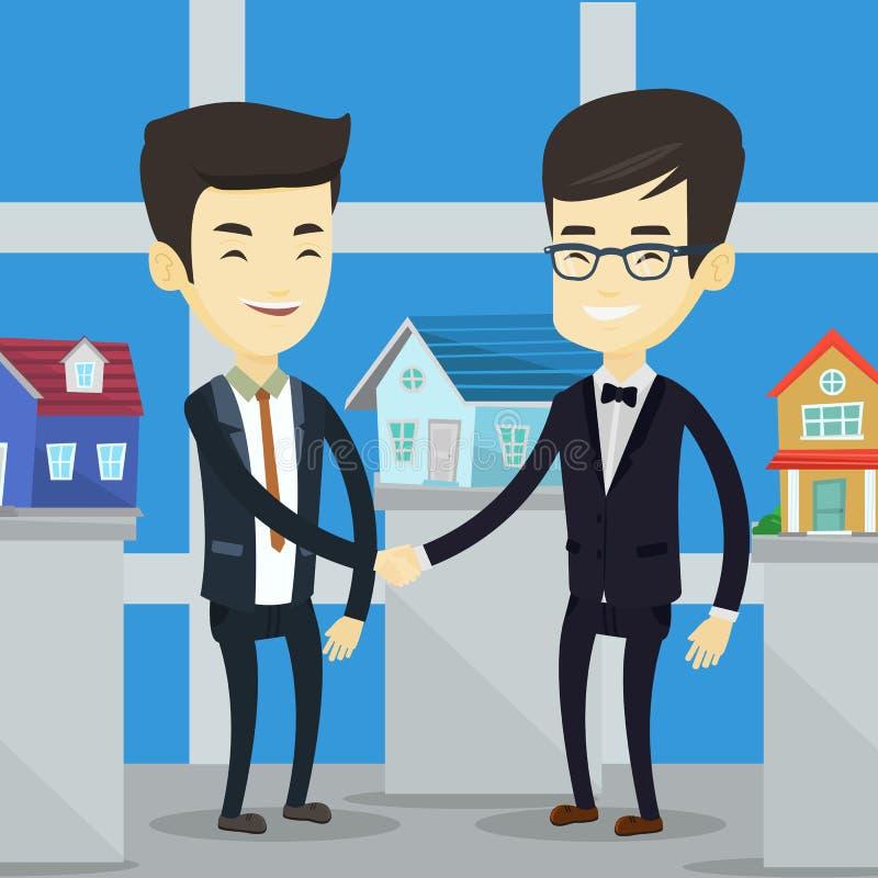 Accord entre le vrais agent immobilier et acheteur illustration de vecteur