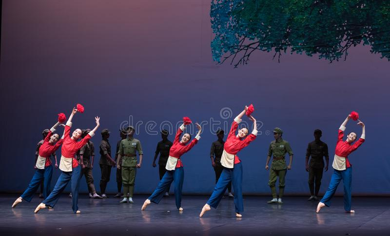 Military spouse-Ballet Yimeng feeling. According to the deeds of Ming Deying, a Yimeng deaf mute of the Eight Route warriors, who had risked their lives and royalty free stock images