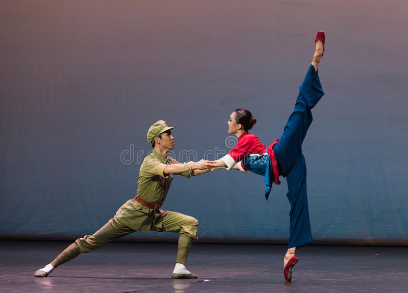 Rescue each other-Ballet Yimeng feeling. According to the deeds of Ming Deying, a Yimeng deaf mute of the Eight Route warriors, who had risked their lives and stock images