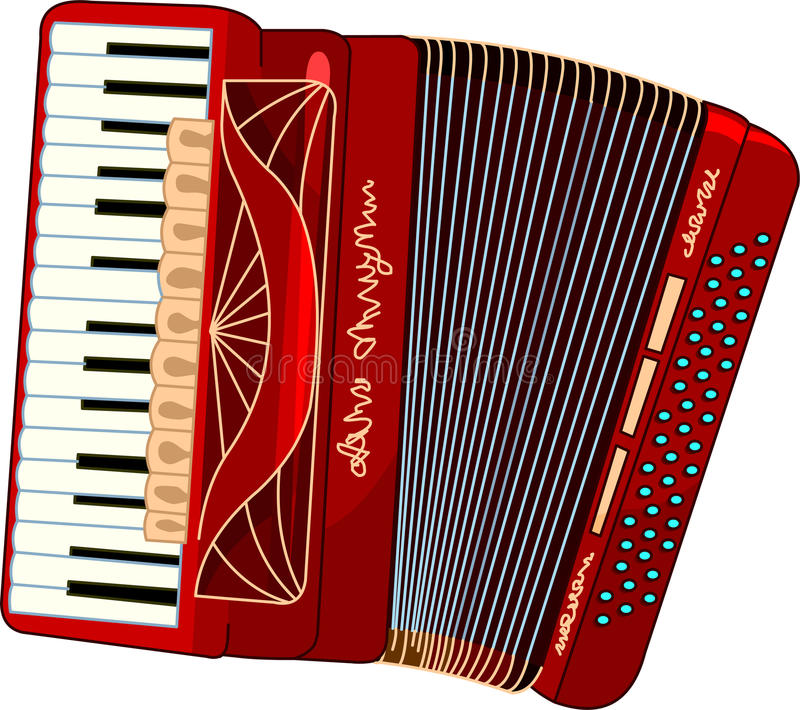 Accordion. Illustration of beautiful red Accordion royalty free illustration