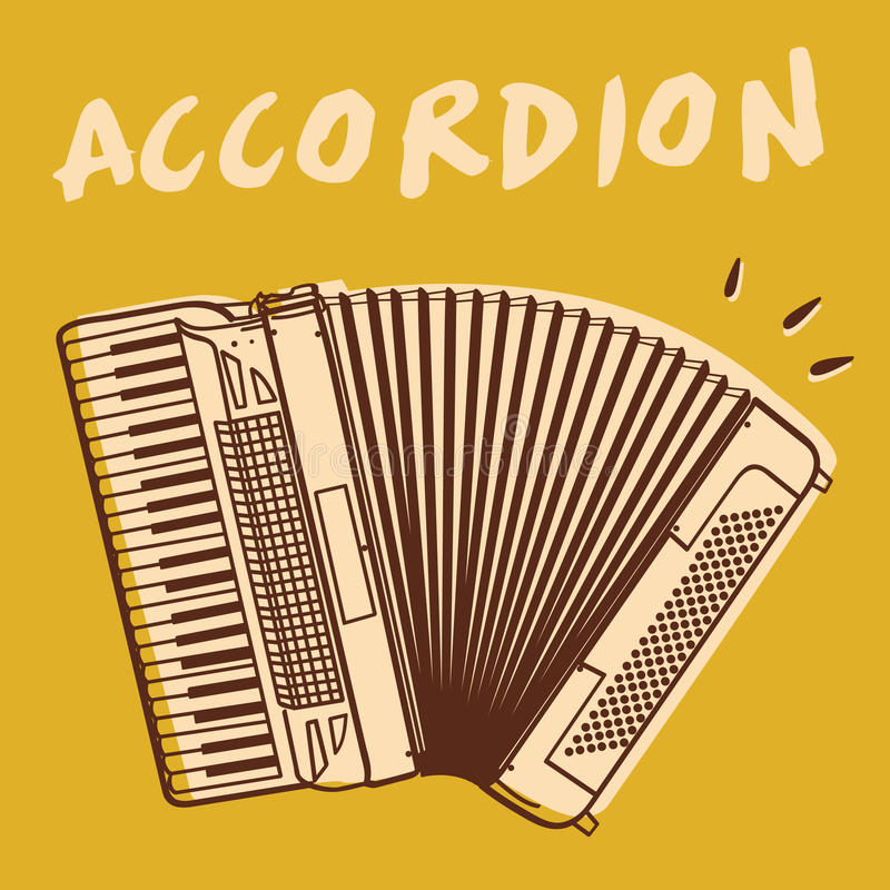 Accordion vector. Illustrations of an accordion, retro style + vector eps file vector illustration