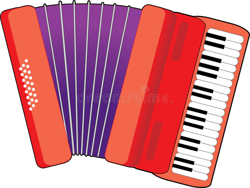 Accordion. Red Accordion with keys and bellows stock illustration