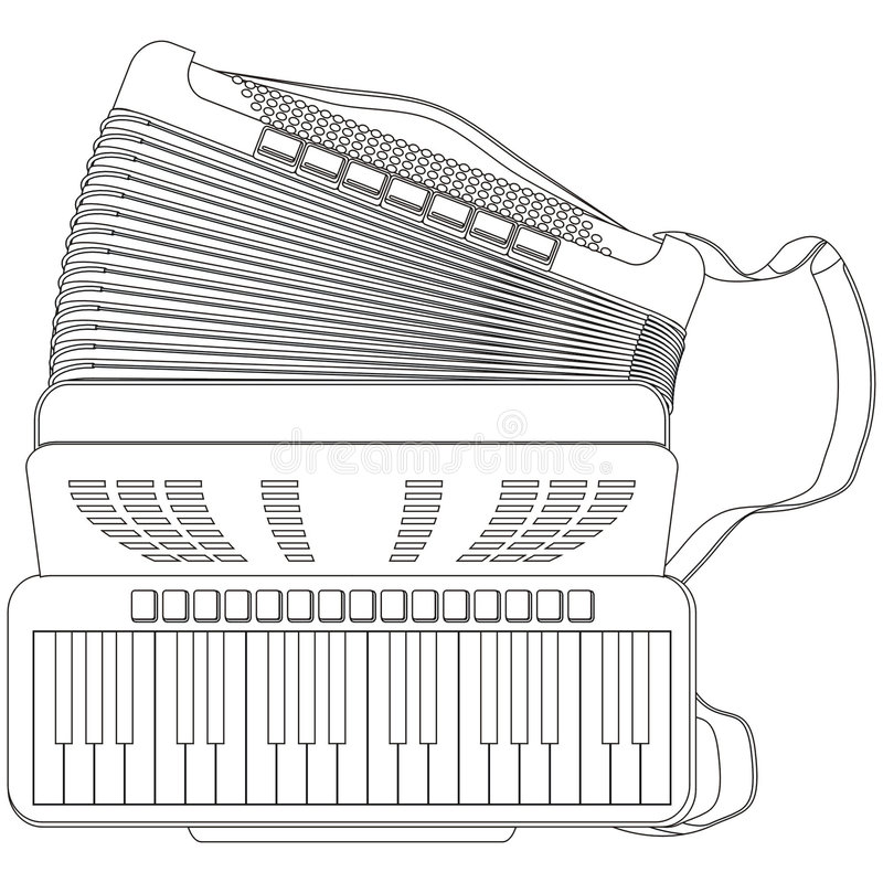 Accordion. Art line illustration of an accordion stock illustration