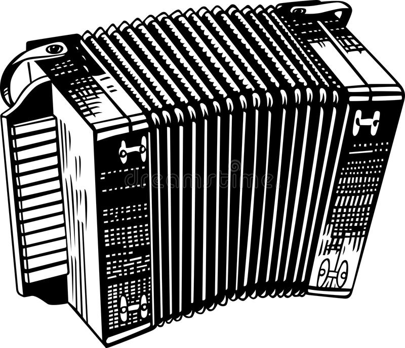 Accordion. This image is a black and white vector illustration of an accordion and can be scaled to any size without loss of resolution, can be variated and used vector illustration