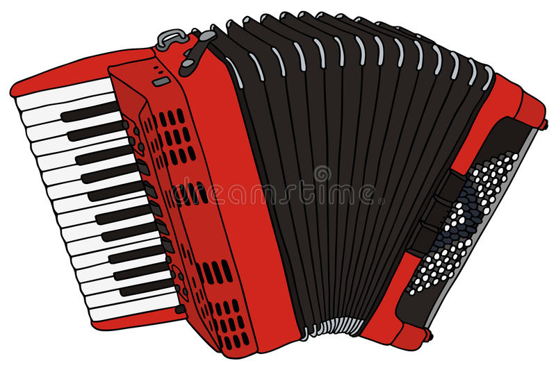 Accordion. Hand drawing of a red accordion stock illustration