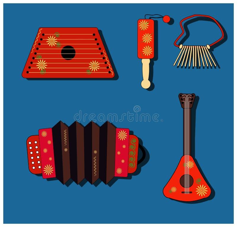 Accordion, balalaika, clapper, ratchet, rattle, gusli. Set Isolate vector Musical instrument. Russian style. Shrovetide. Accordion, balalaika, clapper, ratchet vector illustration