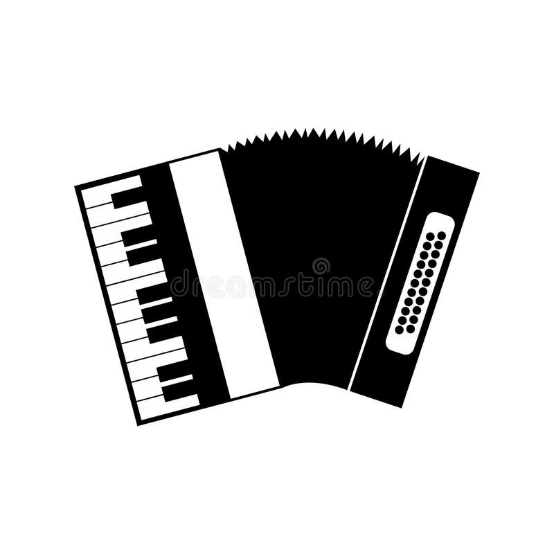 Accordion black icon. On a white background vector illustration