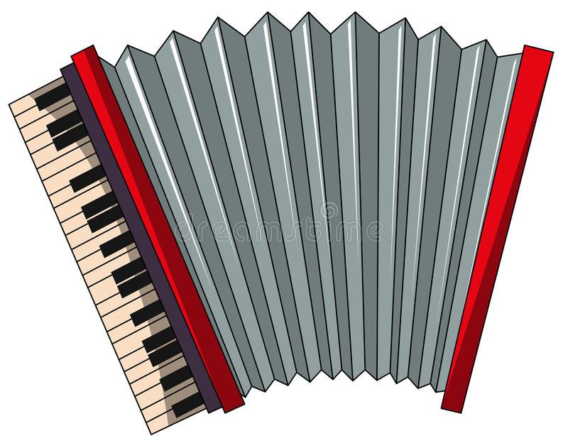 Accordion. Close up plain red accordion stock illustration