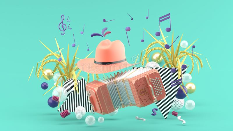 Accordion and a cowboy hat among the notes and colorful balls on the blue background. 3d render stock illustration