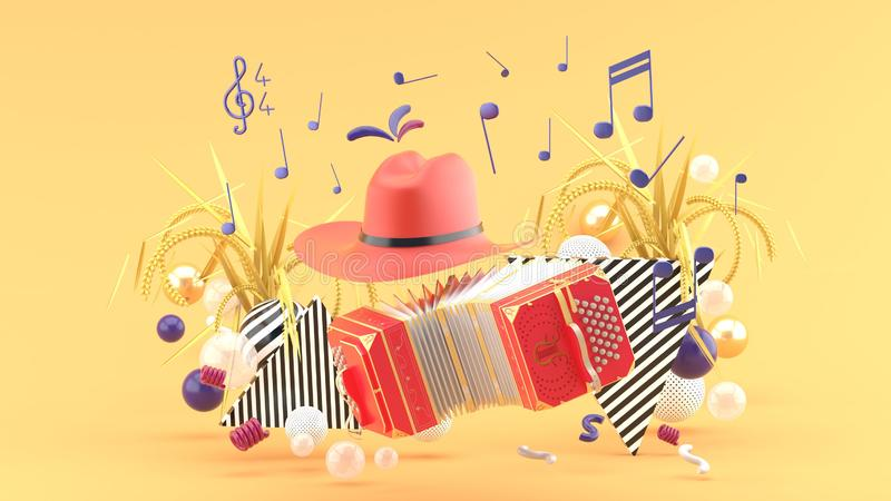 Accordion and a cowboy hat among the notes and colorful balls on the orange background. 3d render royalty free illustration