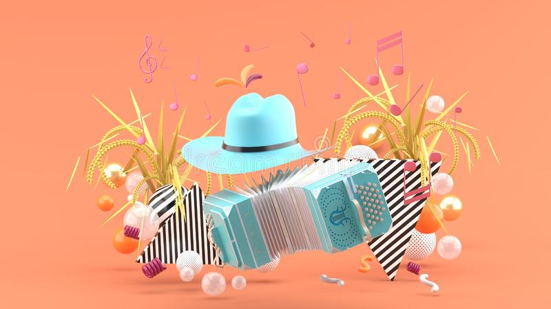 Accordion and a cowboy hat among the notes and colorful balls on the pink background. 3d render vector illustration