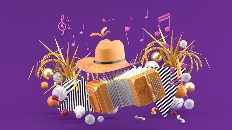 Accordion and a cowboy hat among the notes and colorful balls on the purple background. 3d render vector illustration