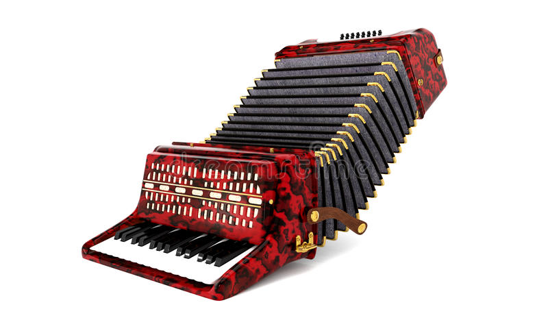 Accordion. 3D model of red accordion stock illustration
