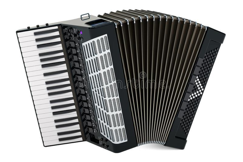 Accordion. 3D rendering. Isolated on white background vector illustration