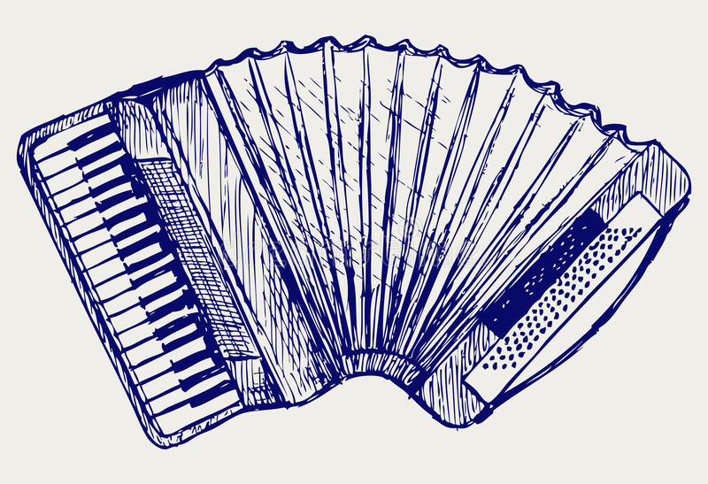 Accordion. Doodle style. Vector sketch stock illustration