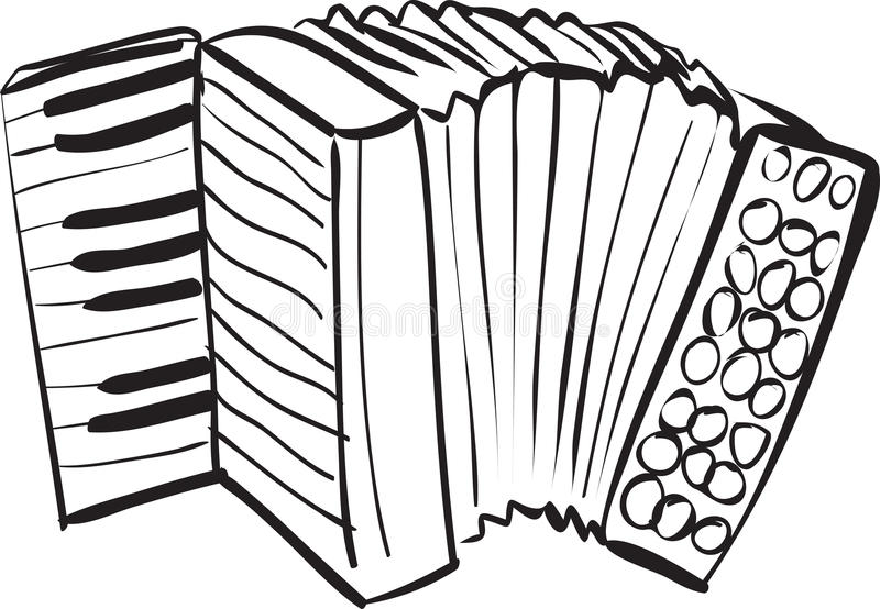 Accordion Doodle. Vector illustration of accordion in black and white doodle sketch stock illustration