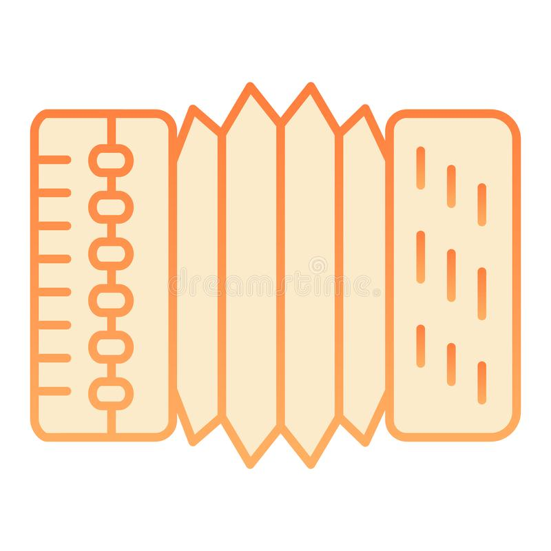 Accordion flat icon. Harmonica orange icons in trendy flat style. Musical instrument gradient style design, designed for. Web and app. Eps 10 vector illustration