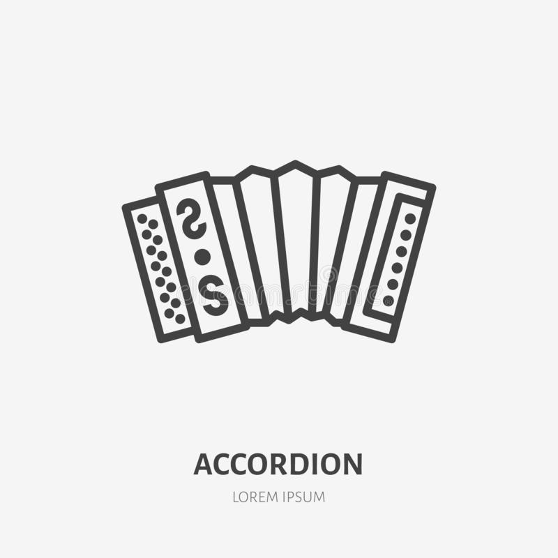 Accordion flat line icon. Vector thin sign of russian musical instrument. Harmonic outline illustration.  stock illustration