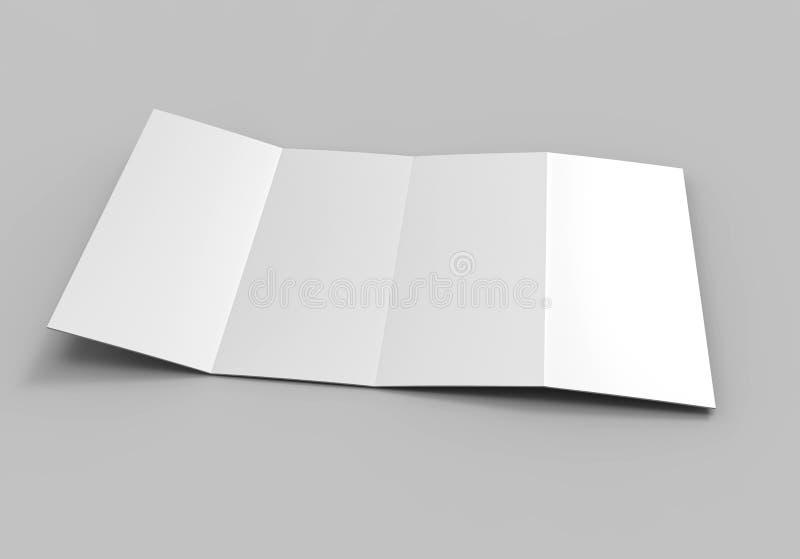 Accordion fold vertical brochure, eight page leaflet or brochure mockup, concertina fold. blank white 3d render illustration. stock illustration