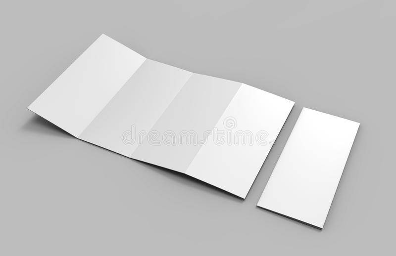 Accordion fold vertical brochure, eight page leaflet or brochure mockup, concertina fold. blank white 3d render illustration. Accordion fold vertical brochure vector illustration