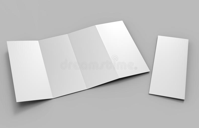 Accordion fold vertical brochure, eight page leaflet or brochure mockup, concertina fold. blank white 3d render illustration. Accordion fold vertical brochure stock illustration