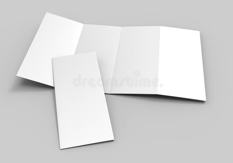 Accordion fold vertical brochure, eight page leaflet or brochure mockup, concertina fold. blank white 3d render illustration. Accordion fold vertical brochure royalty free illustration