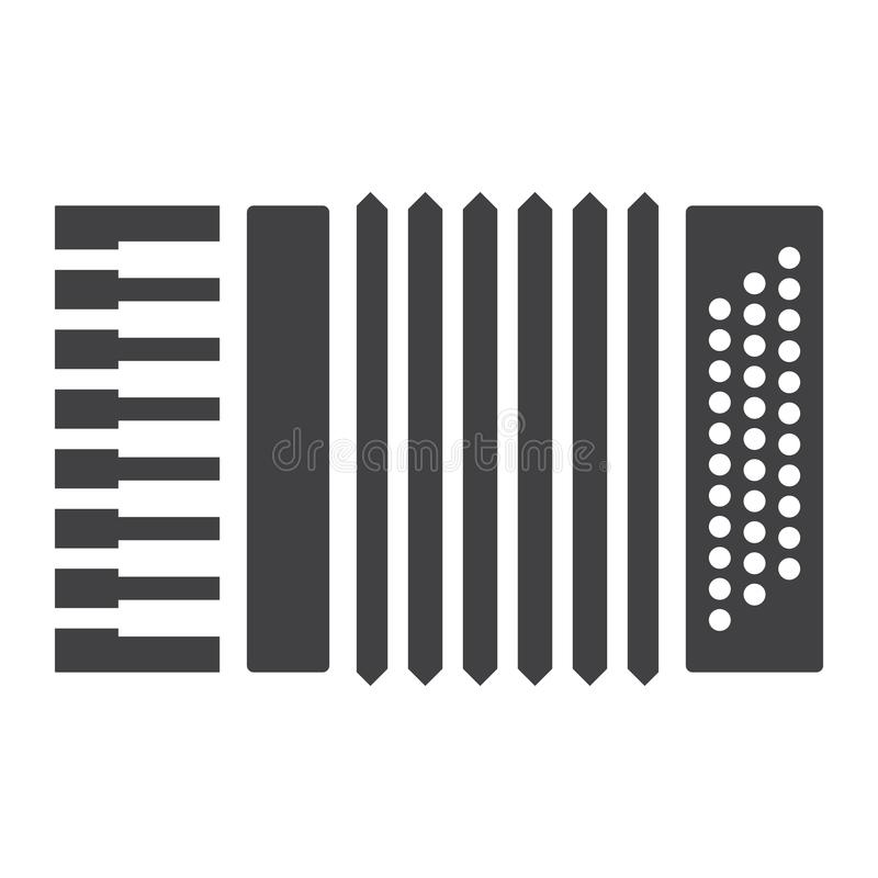 Accordion glyph icon, music and instrument. Sound sign vector graphics, a solid pattern on a white background, eps 10 vector illustration