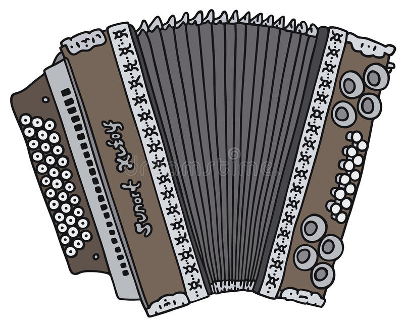 Accordion. Hand drawing of a vintage accordion royalty free illustration