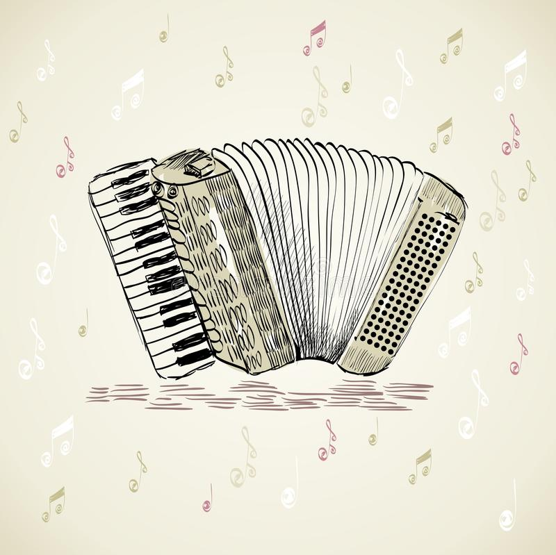 Accordion. Hand drawn accordion on a light background stock illustration