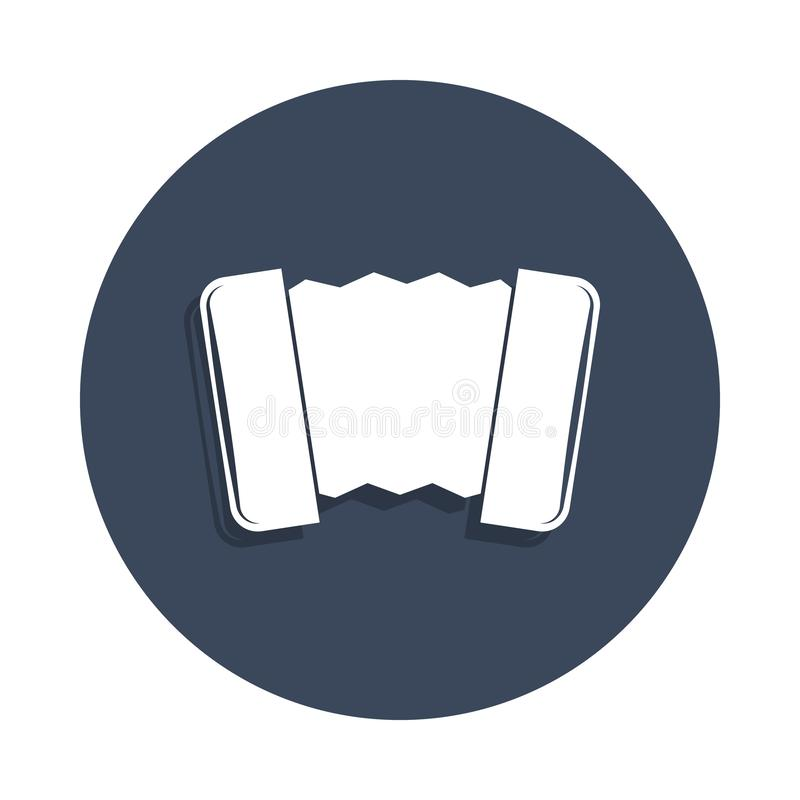 Accordion icon in badge style. One of music collection icon can be used for UI, UX. On white background stock illustration