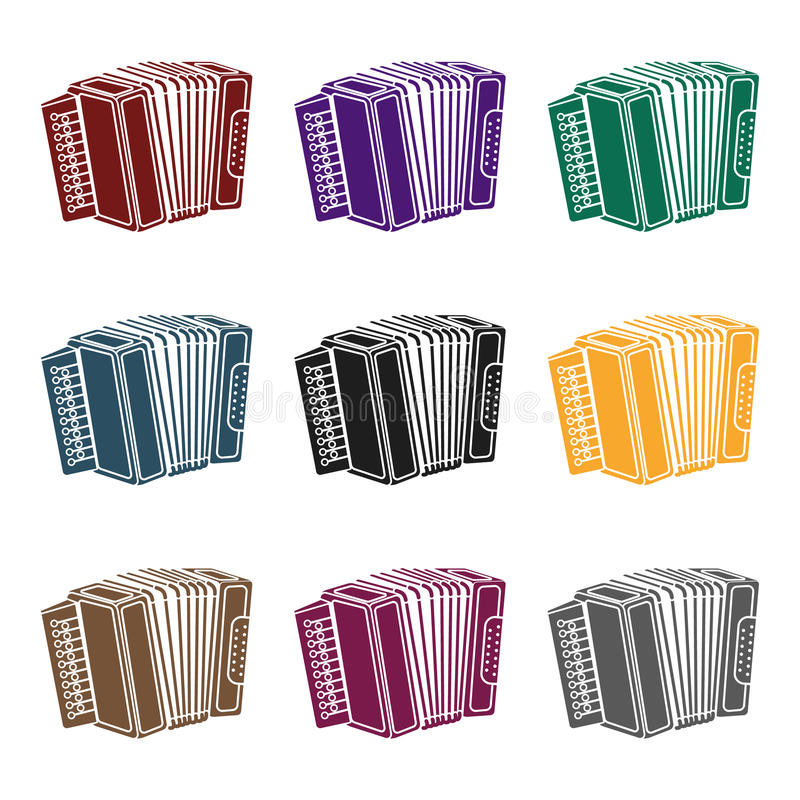 Accordion icon in black style isolated on white background. Oktoberfest symbol stock vector illustration. Accordion icon in black style isolated on white stock illustration