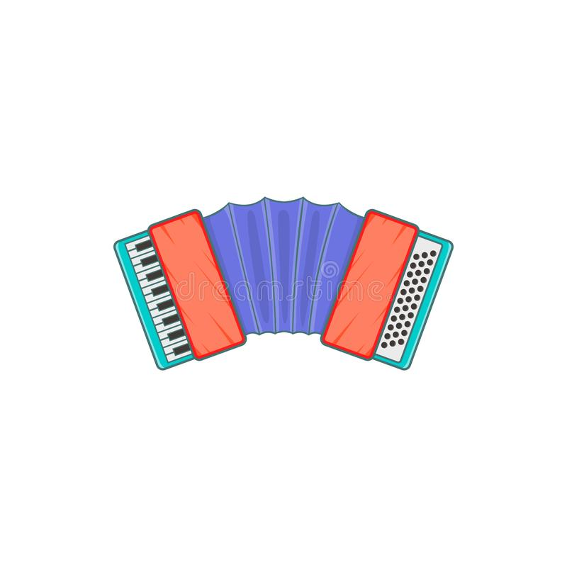 Accordion icon, cartoon style. Accordion icon in cartoon style isolated on white background. Musical instrument symbol stock illustration