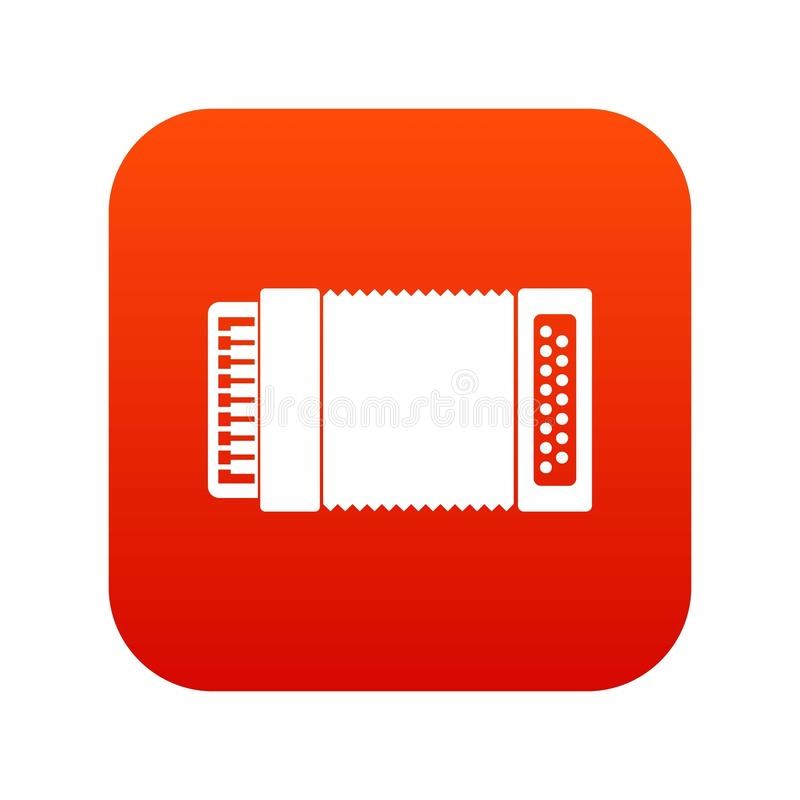Accordion icon digital red. For any design isolated on white vector illustration stock illustration