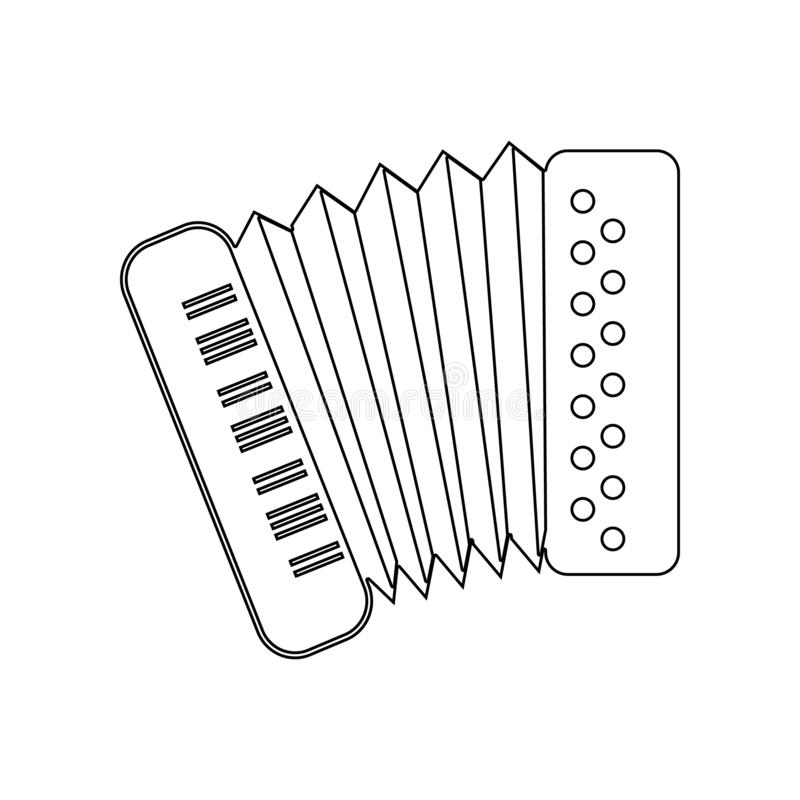 Accordion icon. Element of music instrument for mobile concept and web apps icon. Outline, thin line icon for website design and. Development, app development vector illustration