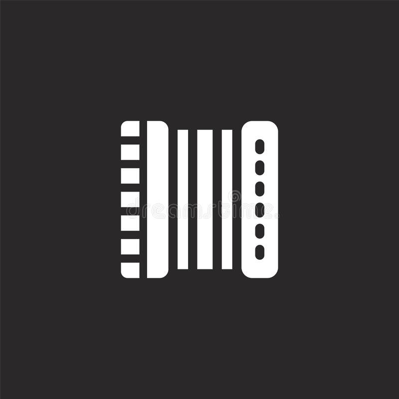 accordion icon. Filled accordion icon for website design and mobile, app development. accordion icon from filled music instruments vector illustration