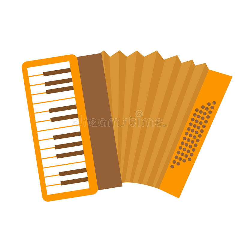 Accordion icon flat, cartoon style. Musical instrument isolated on white background. Vector illustration, clip-art. vector illustration